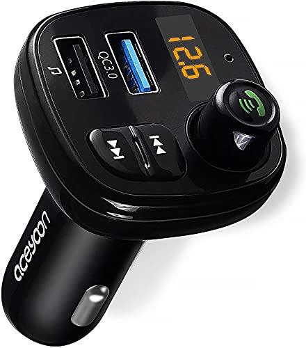 aceyoon Bluetooth FM Transmitter, KFZ Auto Radio Adapter 18W QC 3.0 Dual USB Transmitt Auto Ladegerat Schnellladegerät LED Display Freisprecheinrichtung, Auto Musik Adapter für iOS und Android Geräte