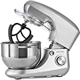 Andrew James Stand Mixer Electric Food Mixer with Large 5.5 Litre Bowl   Includes Beaters for Baking Plus Dough Hook & Balloon Whisk   Removable Splash Guard   6 Speed Settings   800W   Silver