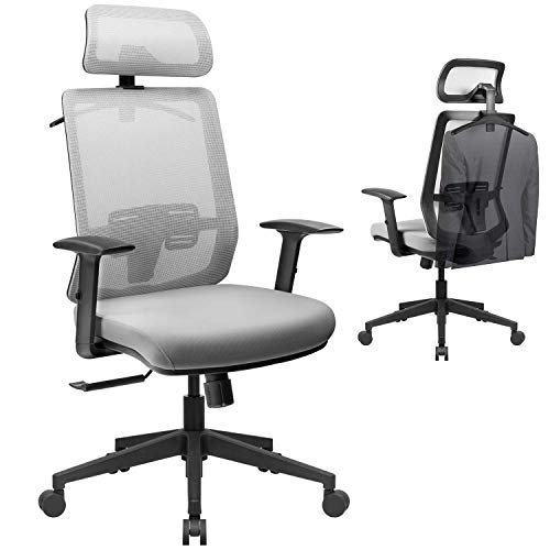 VICTONE Ergonomic Office Chair, Mesh Desk Chair with Adjustable Headrest and Armrest, High Back Computer Chair with Cozy Lumbar Support, Swivel Chair (Gray)