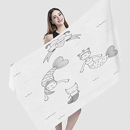"Art Beach Towel,Two Cute Little Mermaid Princesses Cat Fish Tail Water Heart Ribbon,Microfiber Super Absorbent Beach Blanket for Travel Beach Camping Swimming Outdoor Towel Mat,27""x55"""