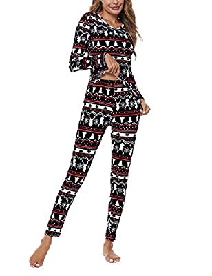 LOMON Christmas Thermal Underwear for Women Ultra Soft Smooth Knit Henley Long Johns Set Base Layer Top & Bottom