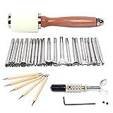 Joyeee 27pcs Kit per Incisione Pelle per la Lavorazione del Legno Intaglio del Cuoio Strumento di Stampa Kit Coltello Girevole Martello Intagliato Timbri Artigianali in Pelle