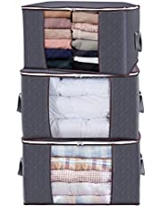 Large Capacity 3 Pack 90L Clothes Storage Bag Organizer with Reinforced Handle Thick Fabric for Comforters,Blankets,Bedding,Foldable with Sturdy Zipper,Bins Bags Clear Window