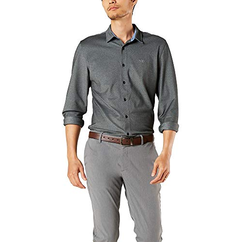dockers Herren Long Sleeve 360 Ultimate Up Shirt Button Down Hemd, Black Oxford Pique, S