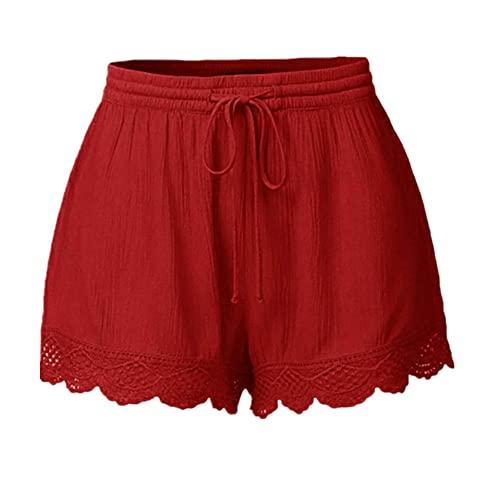 N\P Pantalones cortos de mujer sexy de encaje más tamaño corbata pantalones cortos deportivos Leggings pantalones