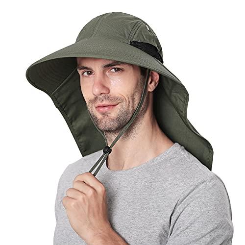 Sombreros para el Sol Hombre, Gorra Transpirable ala Ancha protección UV Protege Cuello Cara, Sombrero Jardin Hombre Adecuado para Trekking (Ejercito Verde)