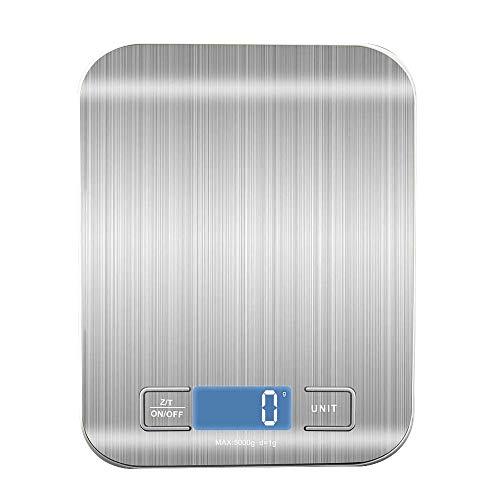 KEKEYANG Escala de Cocina Digital, Pantalla LCD 1g / 0.1oz Acero Inoxidable preciso Escala de Alimentos para cocinar Balanzas de pesaje electrónico Digital (Color : Light Grey)