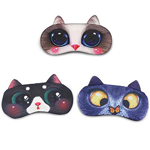 3 Packs Augenmaske Schlafmaske - Daydream Schlafmaske Lustig für Frauen Damen Herren Kinder Mädchen Süße Katze