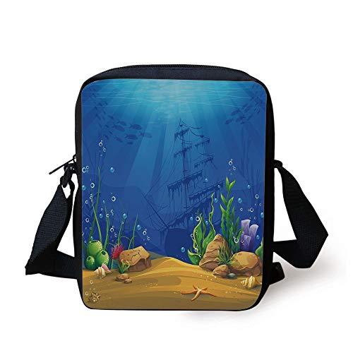 Aquarium,Marine Life Landscape Sunken Ship Silhouette Corals Fishes Tropics Decorative,Blue Light Coffee Green Print Kids Crossbody Messenger Bag Purse