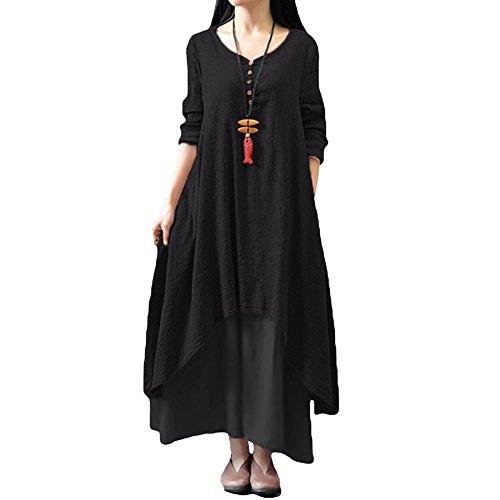 Romacci Damen Beiläufige Lose Kleid Fest Langarm Boho Lang Maxi Kleid S-5XL Schwarz/Weiß/Rot/Gelb, Schwarz, L