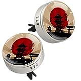 Yumansis Tempio Giapponese Paesaggio Argento 2 Auto diffusore di Oli Essenziali Deodorante Auto Oli Essenziali Lega di Metallo+4Tappetini di Ricarica