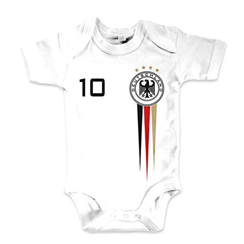 net-shirts Organic Baby Body mit Deutschland Germany Trikot Aufdruck Fußball Fan WM EM Strampler - Spielernummer wählbar, Größe 00-03 Monate-Spielernummer 10
