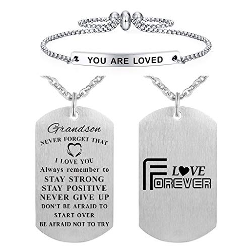 ABNTY to My Grandson Gifts Jewelry Dog Tag from Grandma Grandpa, Grandson Pendant Necklace, Love My Grandson, Boys Necklace for Kids, Birthday Graduation Gift from Grandparents