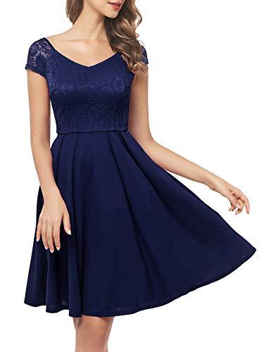 Bbonlinedress Weihnachten Kleider Kleid Blau Damen Abendkleider lang Rockabilly Kleider Damen Rockabilly Kleid Spitzenkleid Damen Kleid Damen Damen Navy L