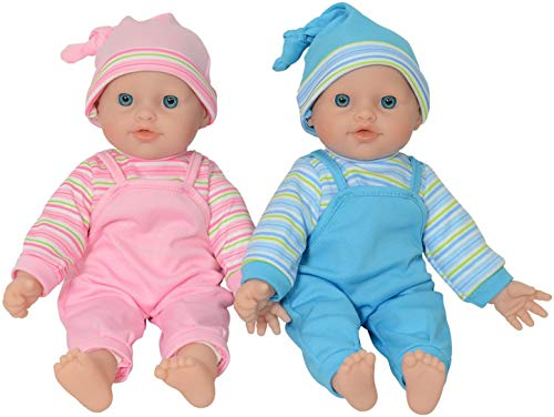 The New York Doll Collection - Twin Baby Caucasian Soft Body Vinyl Dolls 12...