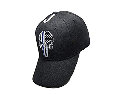 AES Thin Blue Line Demon Ball Cap Hat Police Officer Law Enforcement USA Flag