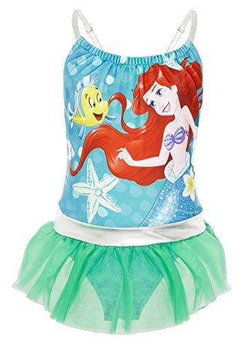 Disney Bañador para Niña Princesas, Pieza Frozen 2 Anna y Elsa, Jasmine, La Cenicienta, Rapunzel, Bella, La Sirenita Ariel, Regalos para Niñas 2-10 Años (9-10 años, Verde Esmeralda)