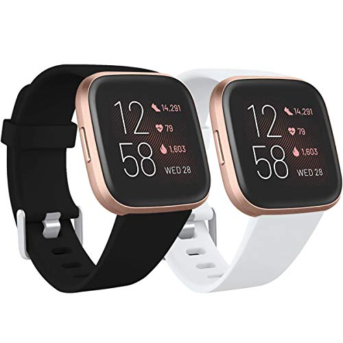 Ouwegaga Compatible con Fitbit Versa Correa/Fitbit Versa Lite Correa/Fitbit Versa 2 Correa, Banda de Repuesto de Silicona para Fitbit Versa, Pequeño Blanco/Negro
