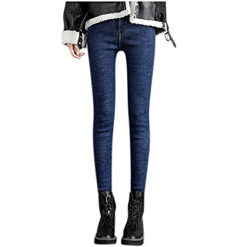 Zarupeng dames stretch-jeans skinny leggings pluche gevoerd hoge taille casual potlood-broek warme dikke jeanbroek lange broek