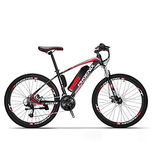 Adulti elettrica Mountain Bike, Biciclette da Neve 250W, Rimovibile 36V 10Ah Batteria al Litio per 27 velocità Bicicletta elettrica, 26 Pollici Ruote,Rosso