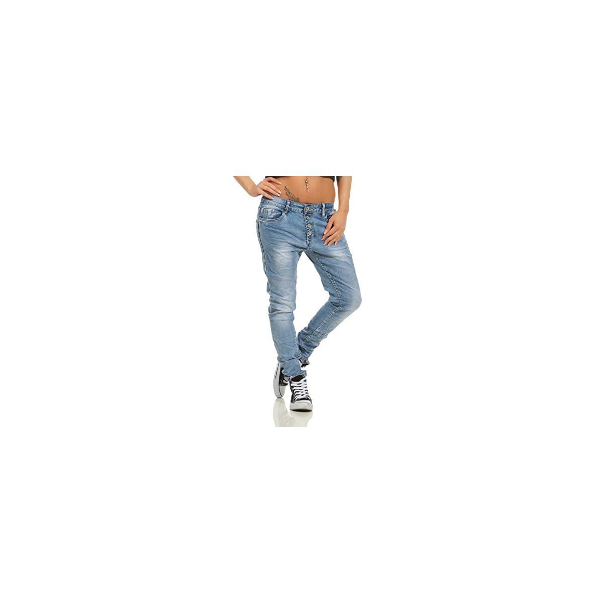 Fashion4Young 11543 Damen Jeans Röhrenjeans