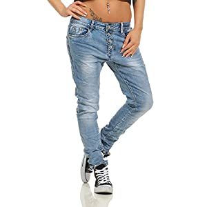 Fashion4Young 11543 Damen Jeans Röhrenjeans