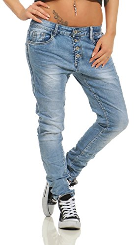 Fashion4Young 11543 Damen Jeans Röhrenjeans Hose Boyfriend Haremscut Damenjeans Übergrößen Pants (Blau, 34)