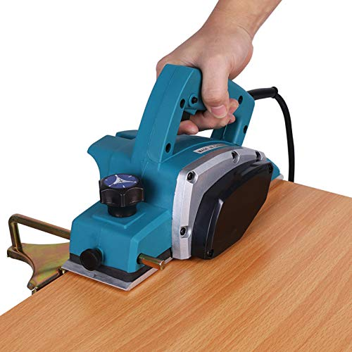 Electric Wood Planer, Electric Power Planer Door Planer Electric Portable Cordless Planers Wood Polishing Crafting Planer Handheld with Self-Locking Switch Depth Adjustment Button, 13000-16000rpm