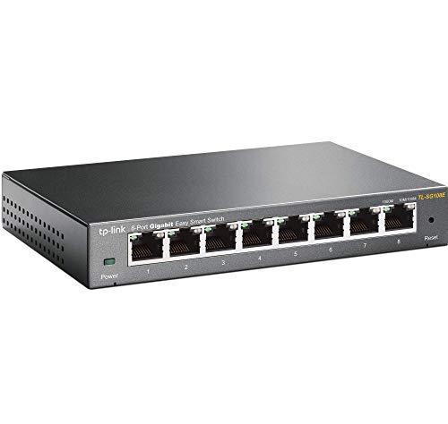 TP-Link TL-SG108E Unmanaged PRO Switch, 8 Puertos Gigabit inteligente, Plug&Play, Carcasa de Metal, VLAN, QoS, Software de Gestión Inteligente Fácil