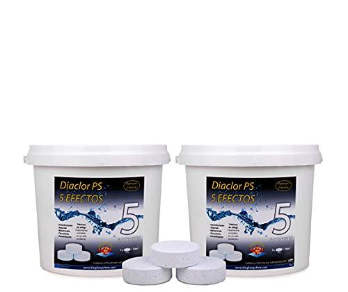 DIASA INDUSTRIAL Pack 2 UDS - Cloro para Piscinas DIACLOR PS 5 Efectos 10 KG (2x5 KG) - 50 Pastillas de Cloro Lento (200 gr) - Tratamiento Completo 5 Acciones