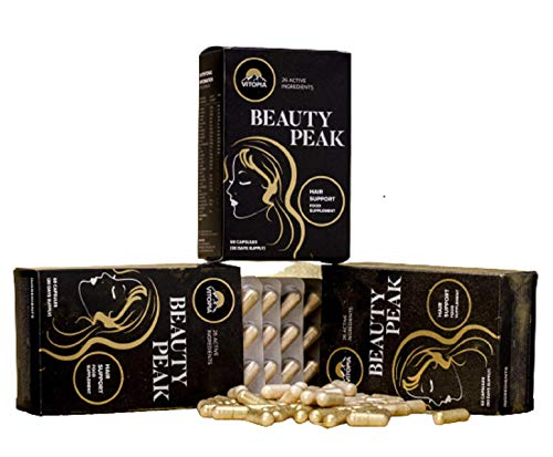 Vitopia, Beauty Peak, 180 caps Hair Growth VitaminsRich in Vitamins, Nutrients & Biotin, Hair Vitamins for Growth and Hair Loss for Men, Hair Thickening Products for Women, Cruelty-free