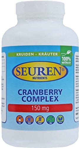 Seuren Nutrients | Cranberry-complex 150 mg + vitamine C | 200 capsules hoge dosis cranberry | 100% natuurlijk Cranberry-extract