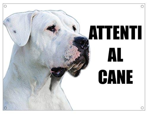 DOGO ARGENTINO attenti al cane TARGA cartello IN METALLO (20X30)