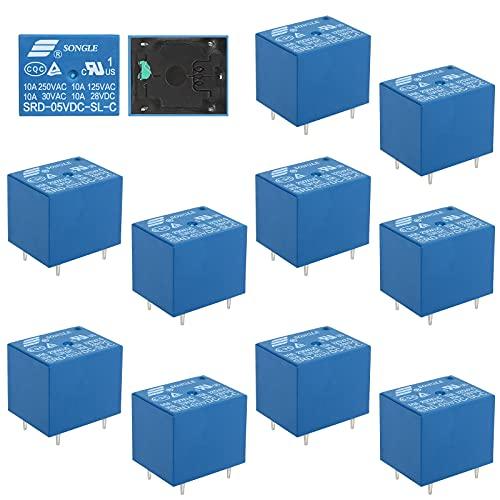 12 Pcs SRD-05VDC-SL-C-Relais 5-poliges Leistungsrelais T73 5V DC Relais, 5 Pin Leistungsrelais für Haushaltsgeräteplatinen