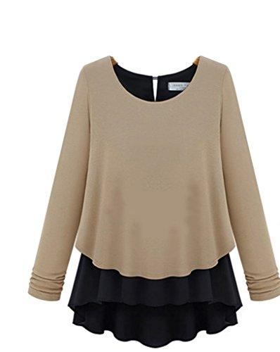Mississhop 70-23 Japan Style Damen Oberteil Poncho Bluse Kleid Longshirt Schwarz-Caffee XL