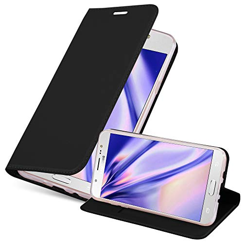 Cadorabo Hülle für Samsung Galaxy J7 2016 in Classy SCHWARZ - Handyhülle mit Magnetverschluss, Standfunktion & Kartenfach - Hülle Cover Schutzhülle Etui Tasche Book Klapp Style