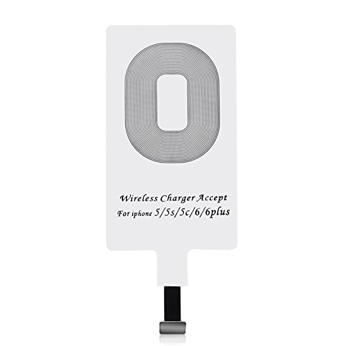 CHOETECH Qi Receptor para iPhone, Qi Receptor Cargador Inalambrico Ultra Delgado Receptor Inalámbrico con Chip de Módulo para iPhone 7/7 Plus, iPhone 6/6 Plus, iPhone 5/5s/5c
