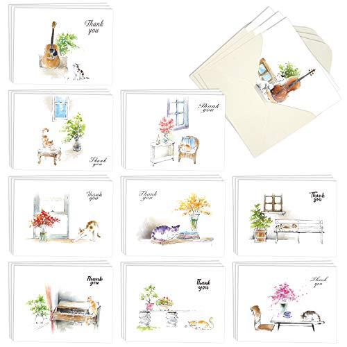 Box of 30 Blank Watercolor Note Cards with Envelopes - All Occasion Blank Greeting Cards (4 x 5.12 Inch) - Cute Animal Thank You Notecard (10 Designs, 3 Each) (Mini Rainbow Cats)