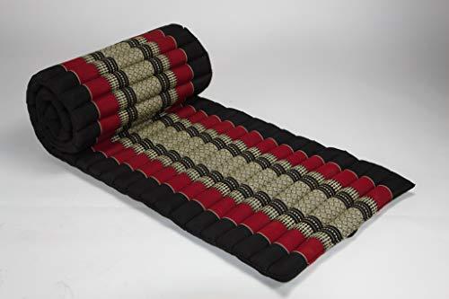 Fine Asianliving Thai Rollmatte Rollmatratze aus Kapok 80x200cm Rot Thai Kissen Meditation Matte Matratze Kapok 301-D01