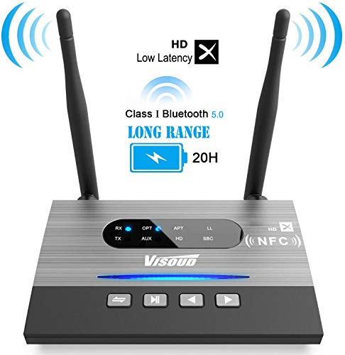 Visoud Long Range Bluetooth 5.0 Transmitter and Receiver aptX HD, aptX Low Latency & Dual Link...