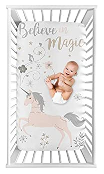 Sweet Jojo Designs Unicorn Girl Fitted Crib Sheet Baby or Toddler Bed Nursery Photo Op - Blush Pink Grey and Gold Flowers and Stars
