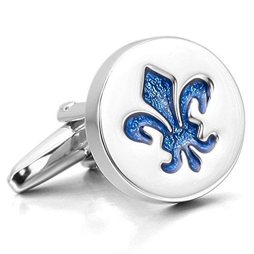 MunkiMix 2 PCS Rhodium Rhodiniert Emaille Manschettenknöpfe Silber Ton Blau Ritter Fleur De Lis Hemd Hochzeit Business 1 Paar Set Herren