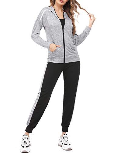 Aibrou Tuta da Ginnastica Donna Elegante Felpa Tute Felpa con Cappuccio Pantaloni Set Giacca Pullover Tops Tuta Training Sportivo 2 Pezzi Felpa Completo Sportswear