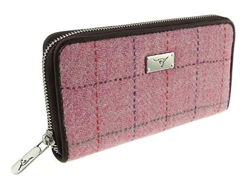Glen Appin Harris Tweed Geldbörse LB2100 Staffa, groß, kariert, Pink