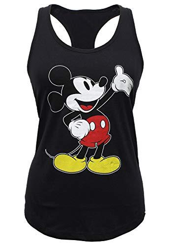 Mickey Mouse Classic Wave Pose Junior's Racerback Tank Top (Medium) Black