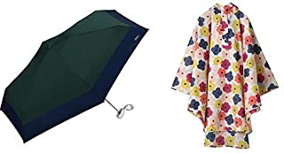 【セット買い】ワールドパーティー(Wpc.) 日傘 折りたたみ傘 グリーン 47cm レディース 傘袋付き 遮光切り継ぎタイニー 801-6423 GR+レインコート ポンチョ レインウェア クローリス FREE レディース 収納袋付き R-1093