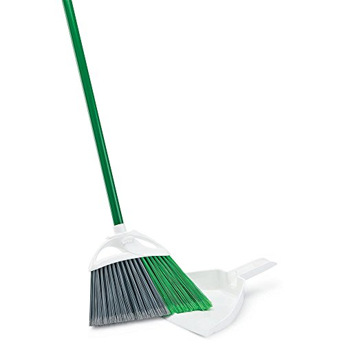 Libman Commercial 206 Precision Angle Broom with Dust Pan, Steel Handle, 11' Wide, Green and White (Pack of 4)