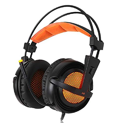 MHOLR Wired Gaming Headset USB 7.1 Stereo Gaming Headset Mit Mikrofon Sprachsteuerung Laptop Game Player,Orange