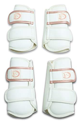 RIDERS CHOICE Premium Dressurgamaschen (4er Set), Gamaschen mit Schlagschutz und Fellfütterung, Gr. Pony, Weiß