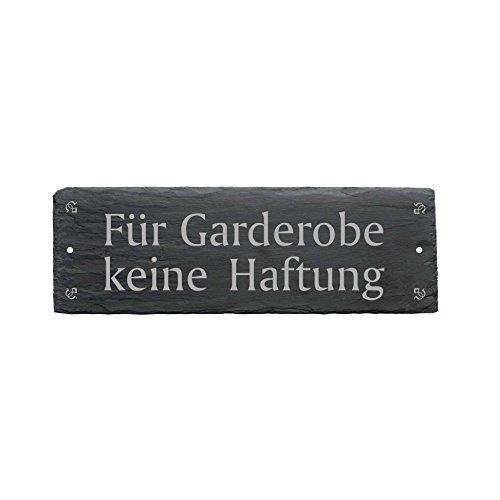 Schild FÜR GARDEROBE KEINE HAFTUNG aus Schiefer - ca.22 x 8 cm - Türschild